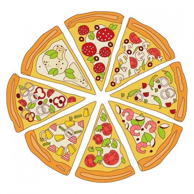 Gustosa pizza affettata illustrazione Vettore Premium