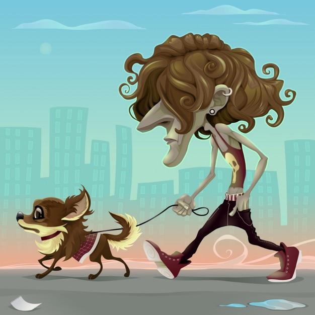 Guy con il cane a piedi per la strada vector cartoon illustrazione Vettore gratuito