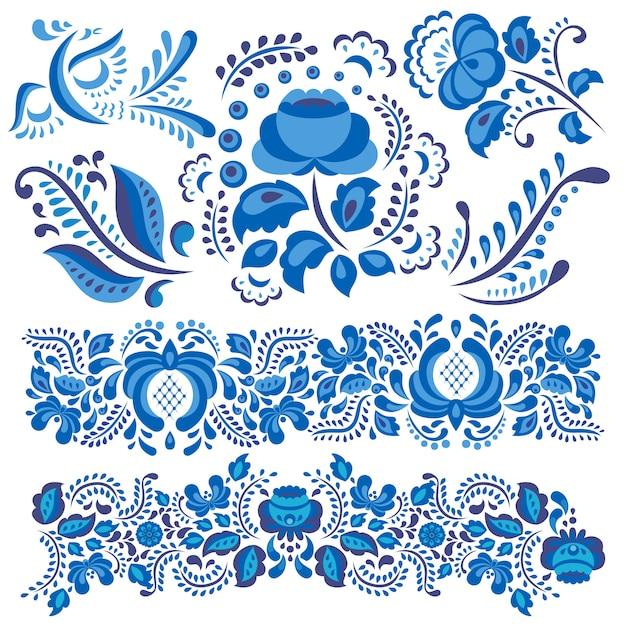 Gzhel motivo floreale in stile tradizionale russo e ornati fiori e foglie in blu Vettore Premium