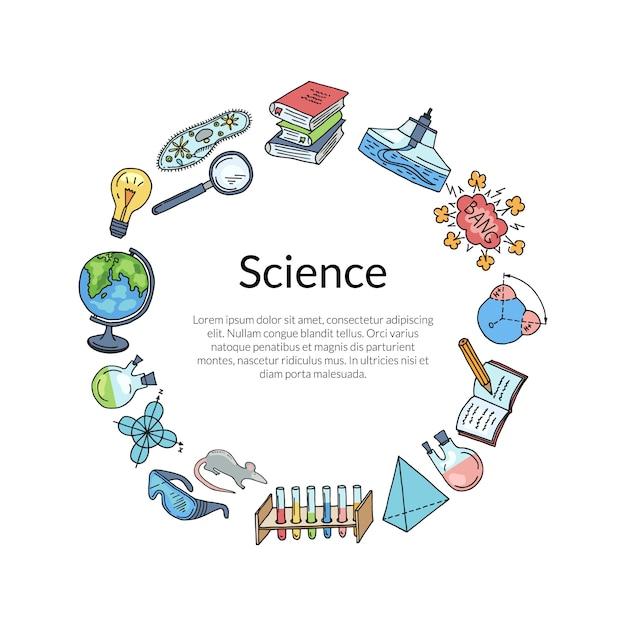 Ha abbozzato elementi scientifici o di chimica Vettore Premium