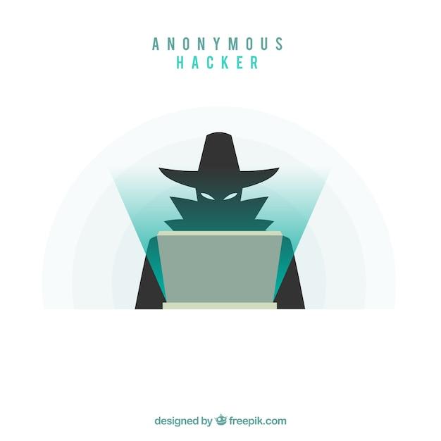 Hacker anonimo con design piatto Vettore gratuito