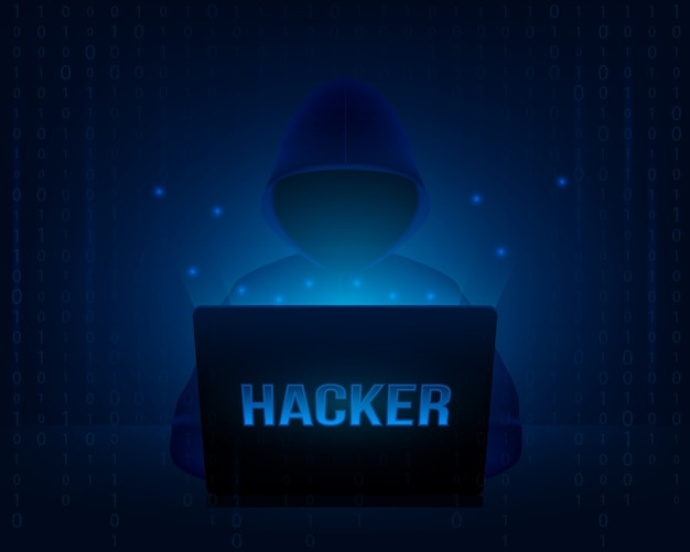 Hacker con felpa con cappuccio in un computer portatile. Vettore Premium