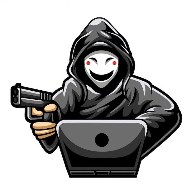 Hacker esport gaming logo premium Vettore Premium