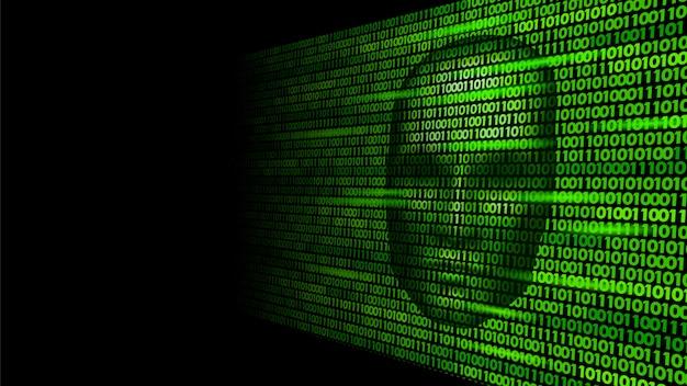 Hacker intelligenza artificiale robot pericolo faccia scura, cyborg Vettore Premium