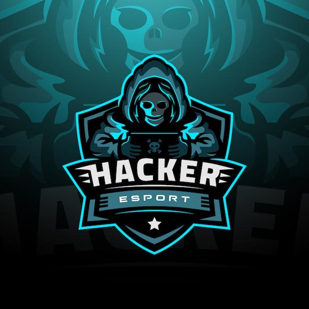 Hacker logo esport Vettore Premium