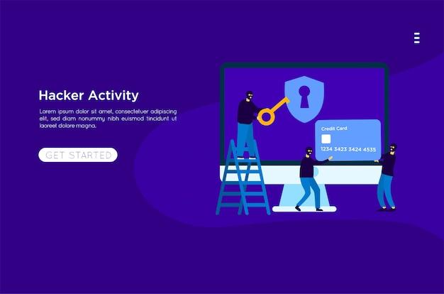 Hacker rubare illustrazione Vettore Premium