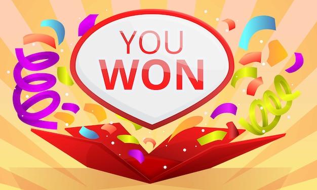 Hai vinto il banner del concept contest, in stile cartone animato Vettore Premium