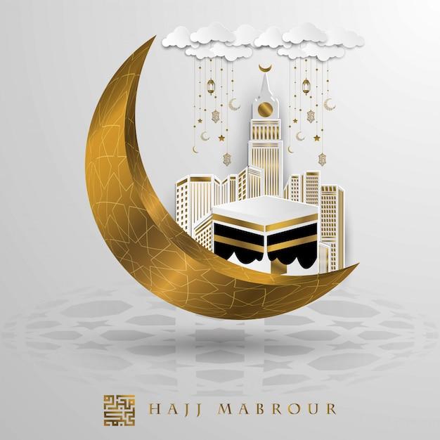 Hajj mabrour saluto disegno vettoriale oro con kaaba mecca e mezzaluna Vettore Premium