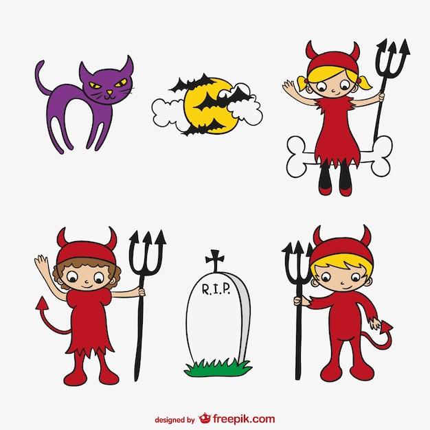 Halloween bambini cartone animato set scaricare vettori