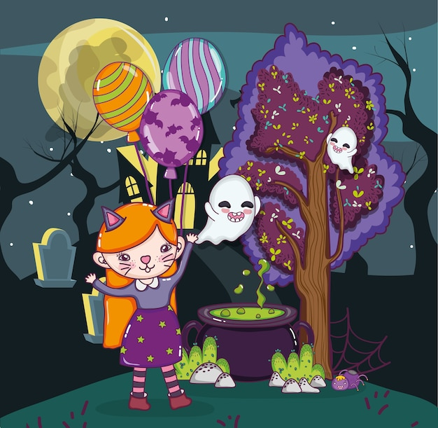 Halloween cartoni per bambini scaricare vettori premium