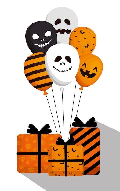 Halloween con palloncini elio e regali Vettore gratuito