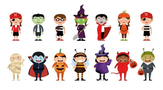 Halloween con set di bambini in costume Vettore gratuito