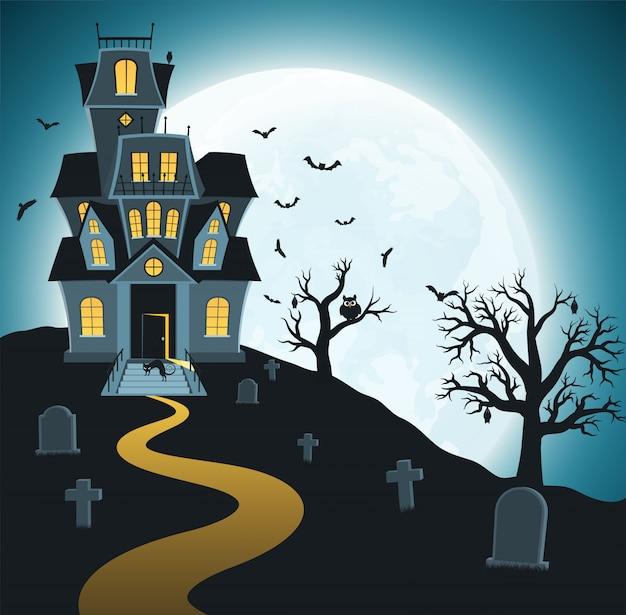 Halloween con tombe, alberi, pipistrelli Vettore Premium