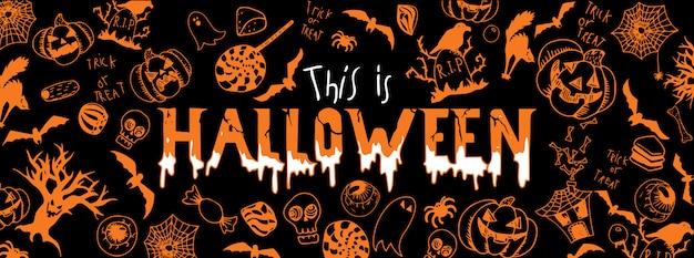 Halloween doodles banner Vettore Premium
