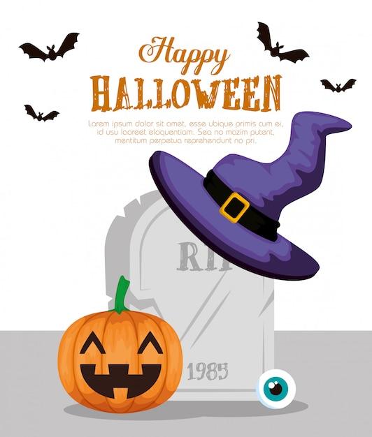 Halloween felice con il cappello della strega di pumpkinand Vettore gratuito