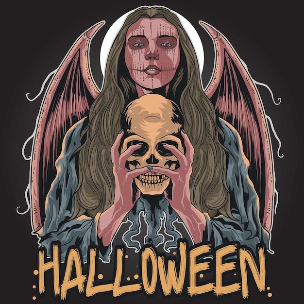 Halloween girl loco Vettore Premium