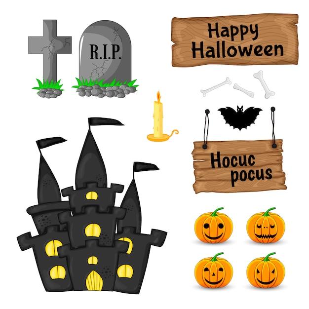Halloween ha messo con gli attributi tradizionali su fondo bianco. stile cartone animato. . Vettore Premium