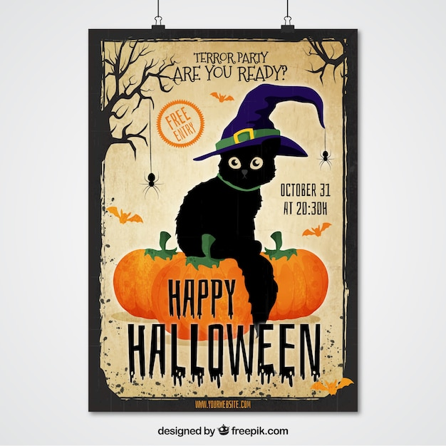 Halloween manifesto gatto con il cappello della strega Vettore Premium