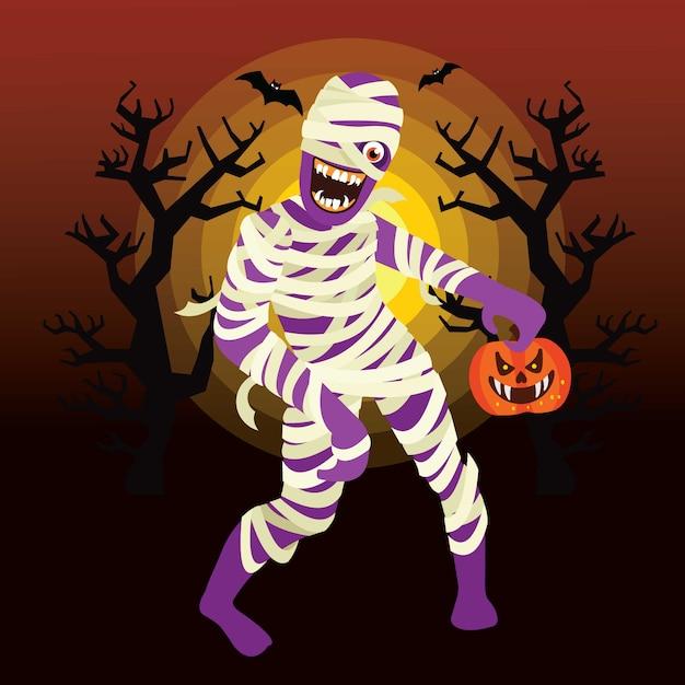 Halloween mummy character Vettore Premium