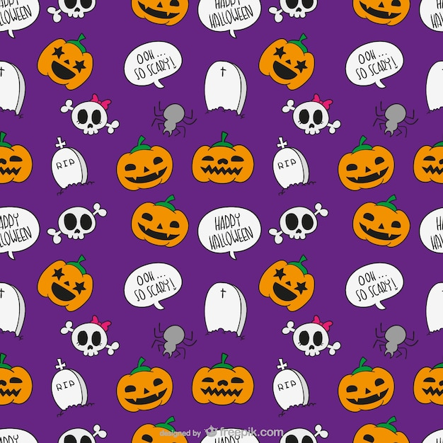 Halloween pattern di cartone animato scaricare vettori