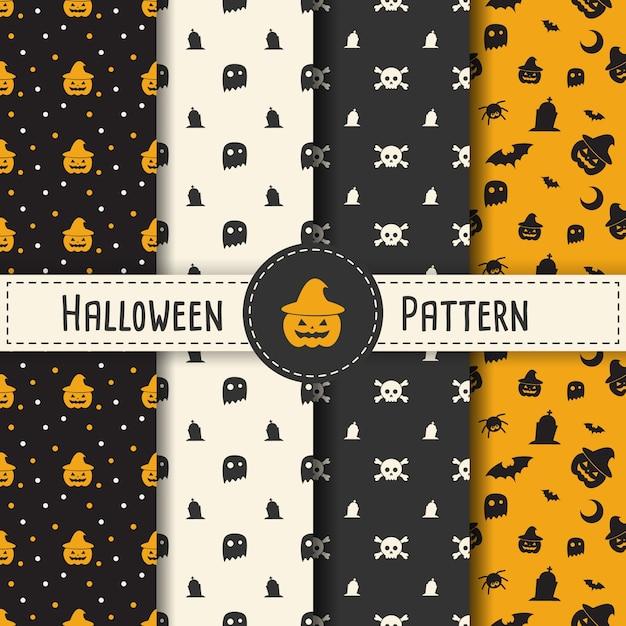 Halloween pattern imposta la priorità bassa per la notte del partito di halloween. vettore senza soluzione di vettore di halloween per la festa con ragno e web per banner, poster, biglietto di auguri, invito di festa illustrazione. Vettore Premium