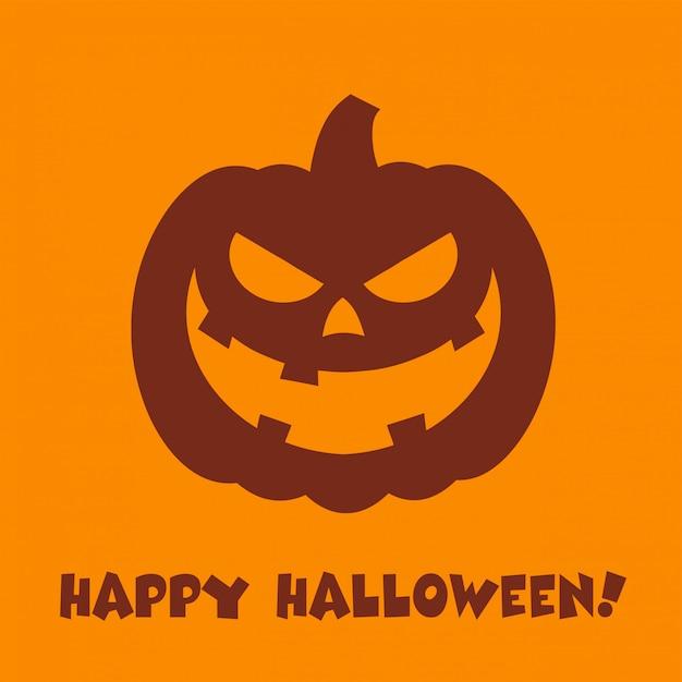 Halloween pumpkin cartoon evil face character Vettore Premium