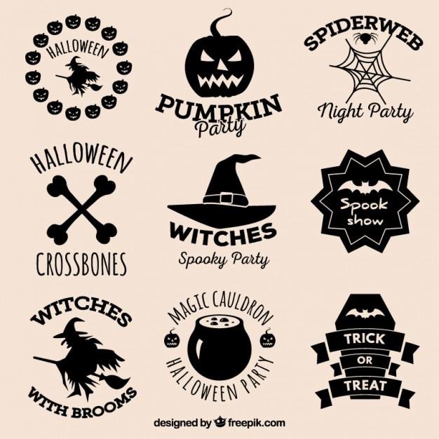Halloween scudetti raccolta Vettore gratuito