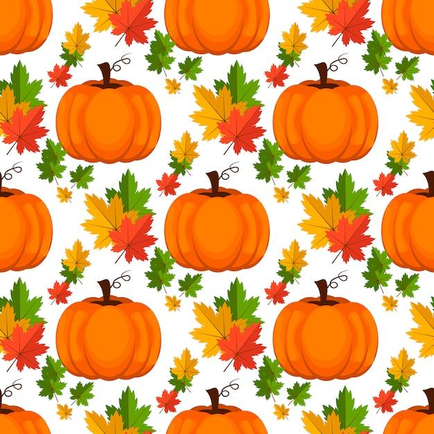 Halloween seamless. sfondo con zucca. Vettore Premium