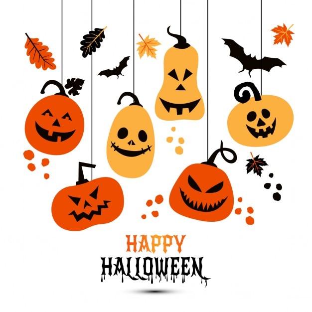 Halloween sfondo di zucche allegri Vettore gratuito