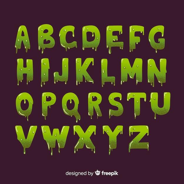 Halloween vintage con alfabeto di melma Vettore gratuito