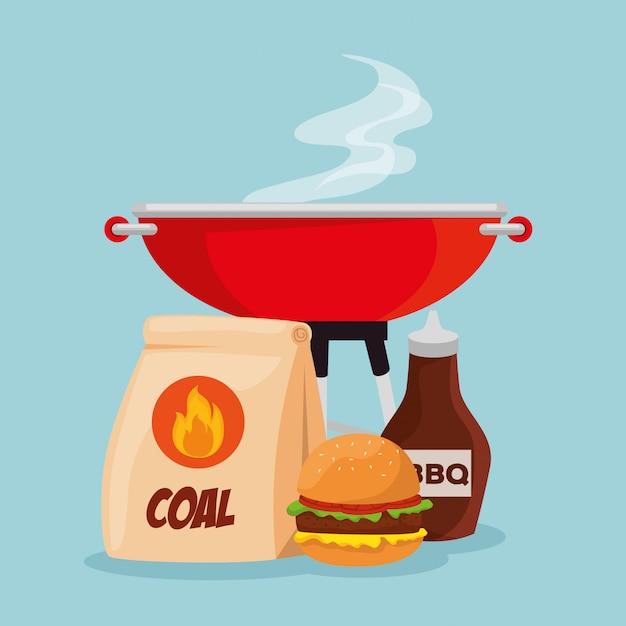 Hamburger di carne con griglia e salsa barbecue Vettore gratuito