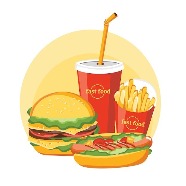 Hamburger di fast food Vettore Premium