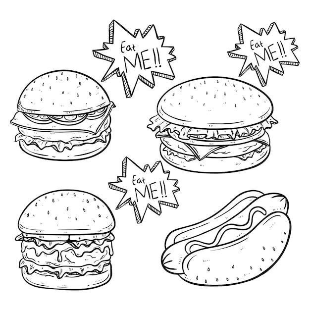 Hamburger e hot dog deliziosi con formaggio fuso usando schizzo o stile disegnato a mano Vettore Premium
