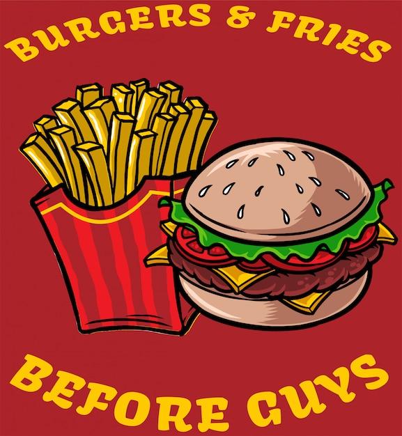 Hamburger e patatine fritte Vettore Premium