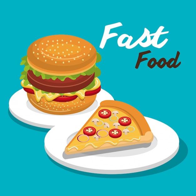 Hamburger e pizza design icona isolata Vettore Premium