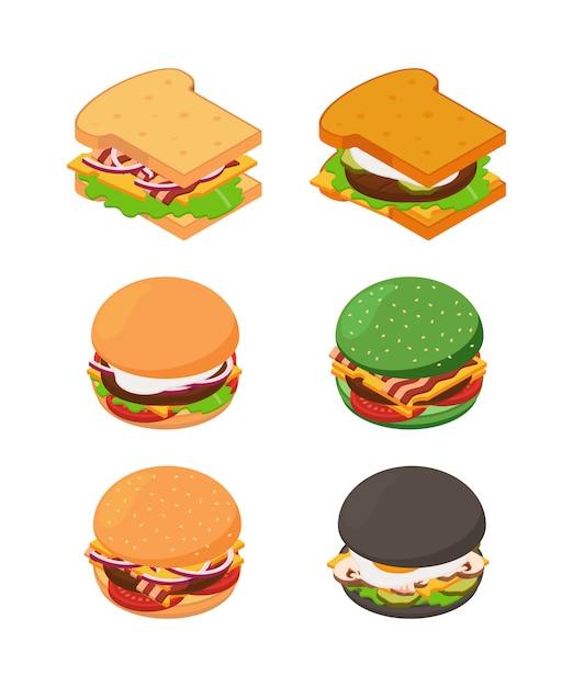 Hamburger e sandwich isometrici. set di foto di fast food Vettore Premium