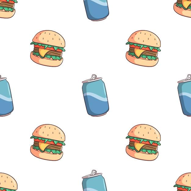 Hamburger e soda di doodle possono senza cuciture Vettore Premium