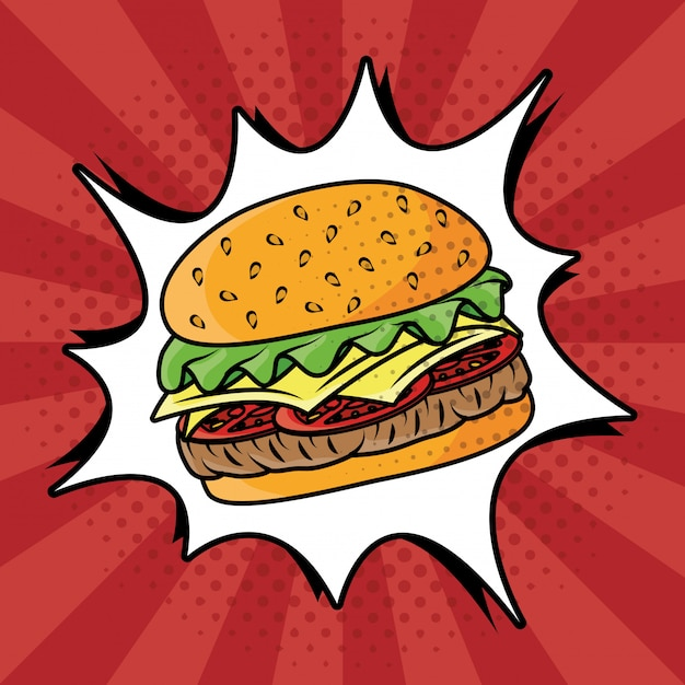 Hamburger fast food in stile pop art Vettore gratuito