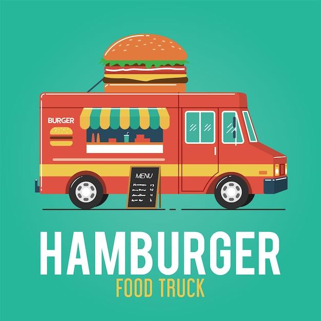Hamburger food truck Vettore Premium