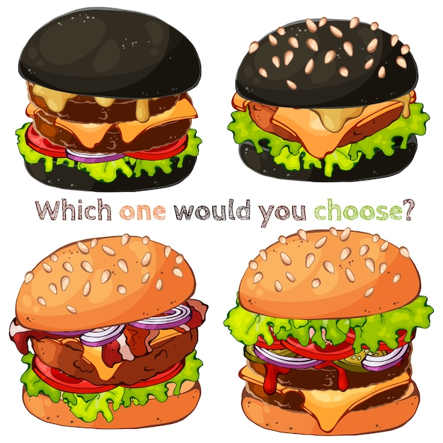 Hamburger. Vettore Premium