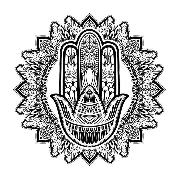 Hamsa talismano religione asiatica. Vettore Premium