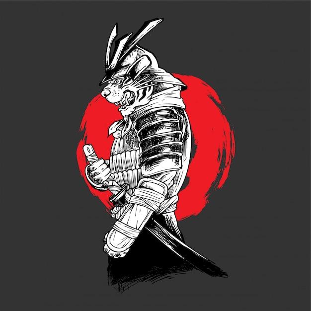 Handdrawing illustration tiger samurai Vettore Premium