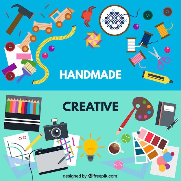 Handmade e laboratori creativi Vettore gratuito
