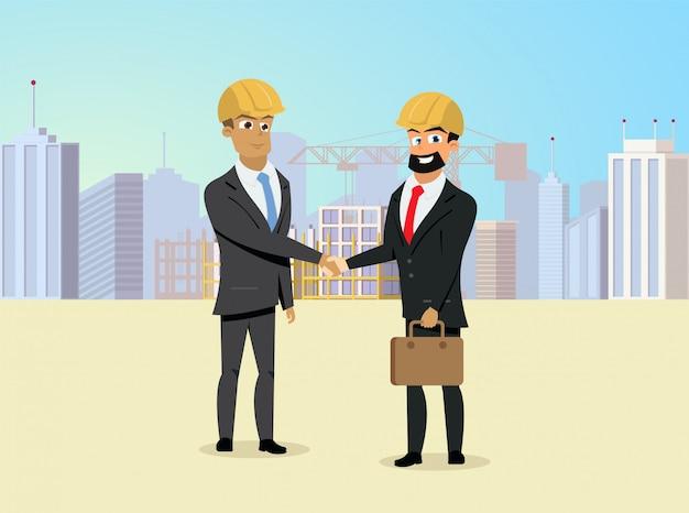 Handshaking dei soci sul vettore del cantiere Vettore Premium