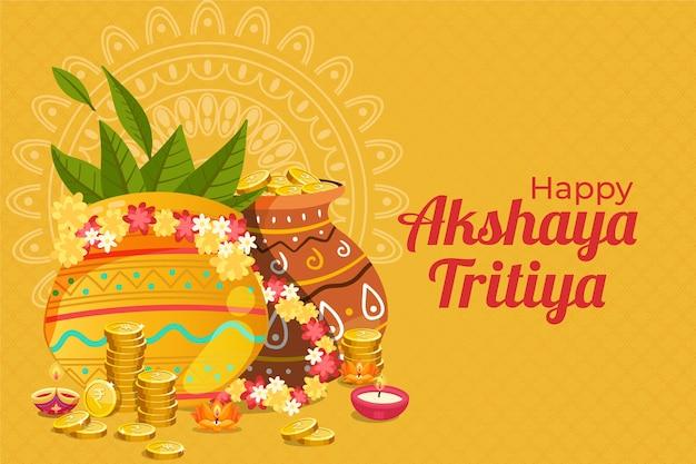 Happy akshaya tritiya vasi decorativi e monete Vettore gratuito
