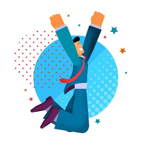 Happy businessman dancing joy jumping. Vettore Premium