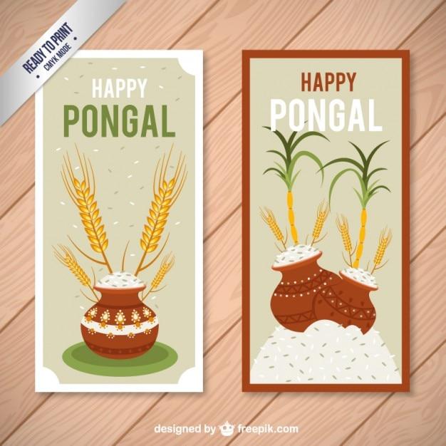 Happy carte pongal Vettore gratuito