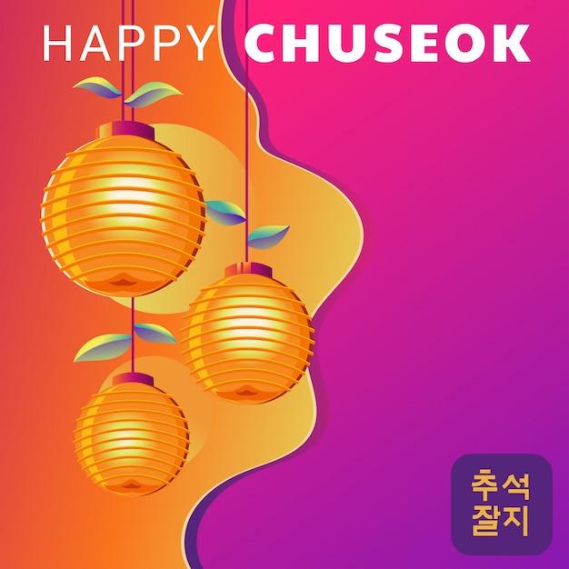Happy chuseok day o mid autumn festival Vettore Premium