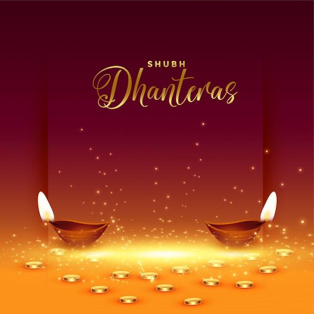 Happy dhanteras card con moneta d'oro e diya Vettore gratuito