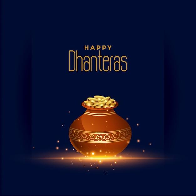 Happy dhanteras festival card con pentola moneta d'oro Vettore gratuito